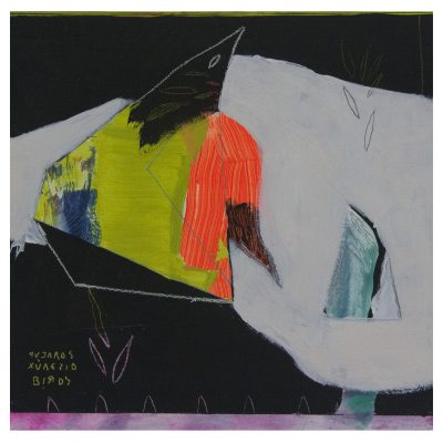 Birds#03 - Inma Fierro - Cm 40x40 - Mixed Media on Wood - 2016